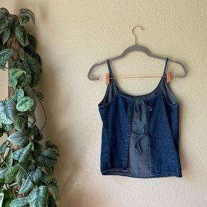 Tops - Denim Tank With Open Tied Back